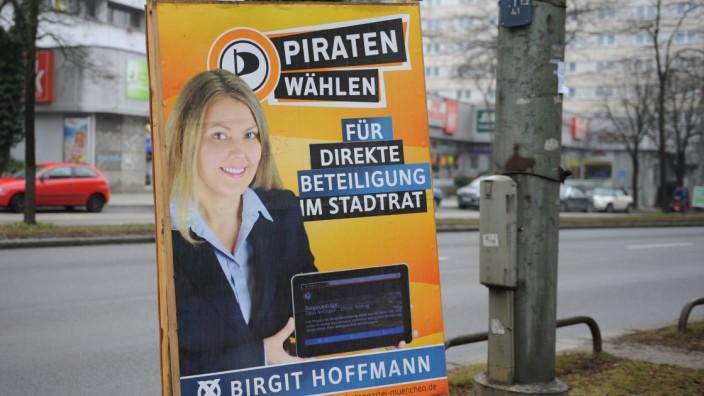 Wahlplakat der Piraten in München, 2014