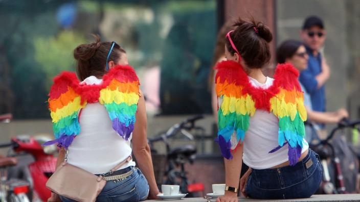 CSD Christopher Street Day in Frankfurt Hessen Deutschland zwei geschmückte junge Frauen nehmen e