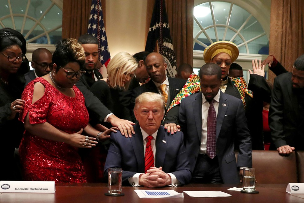 U.S. President Donald Trump hosts meeting with African-American leaders in the Cabinet Room of the White House in Washington