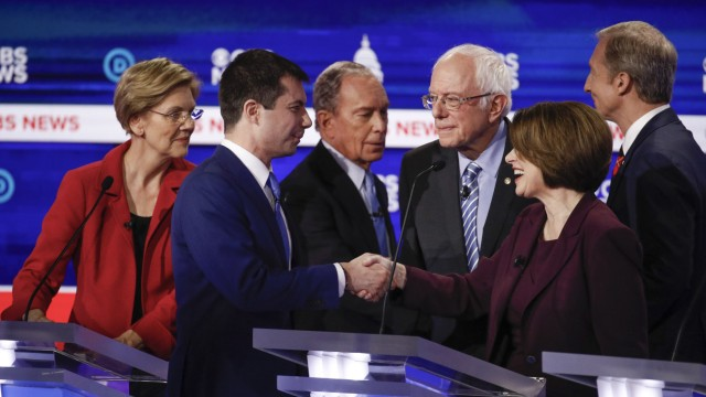 Mike Bloomberg, Pete Buttigieg, Elizabeth Warren, Bernie Sanders, Amy Klobuchar, Tom Steyer