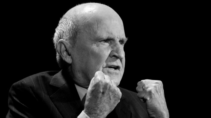 FILE PHOTO: Former CEO of General Electric, Jack Welch, speaks during the World Business Forum in New York