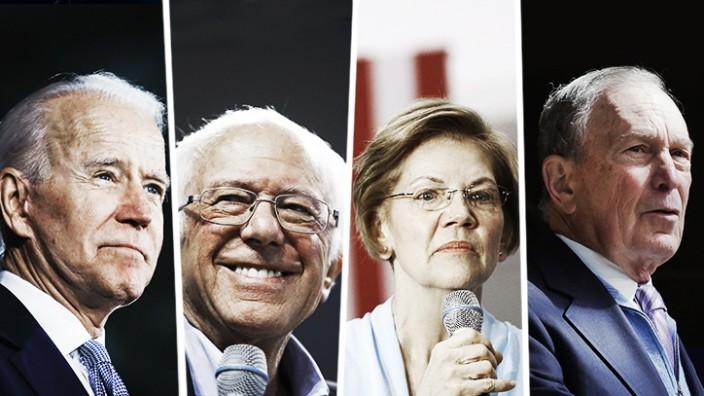 Vorwahl der Demokraten: Sie erhoffen sich eine Chance auf das Oval Office: Joe Biden, Bernie Sanders, Elizabeth Warren und Michael Bloomberg.