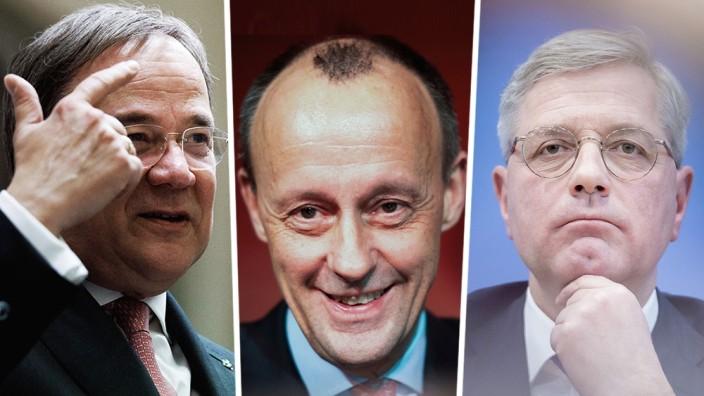 CDU-Politiker Armin Laschet, Friedrich Merz und Norbert Röttgen
