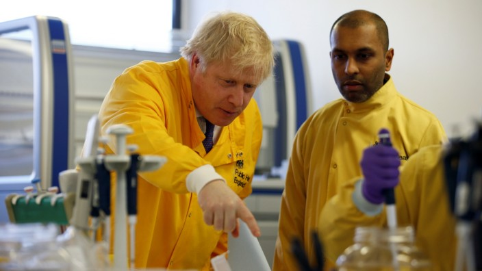 UK PM Johnson Visits Public Health England National Infection Service
