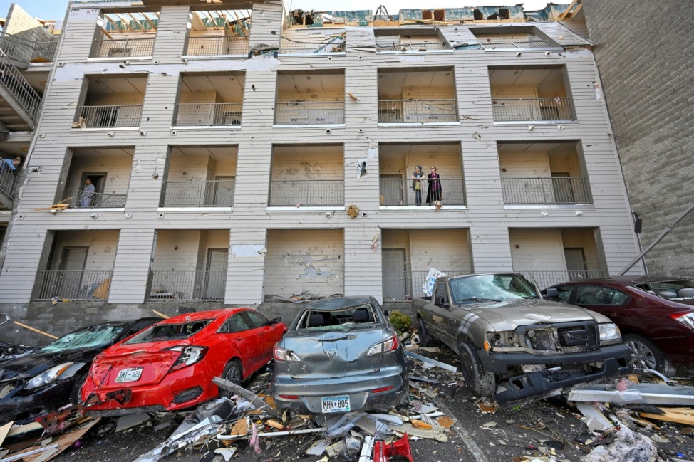 Damage to Amplify Apartments building is seen after a tornado hit eastern Nashville