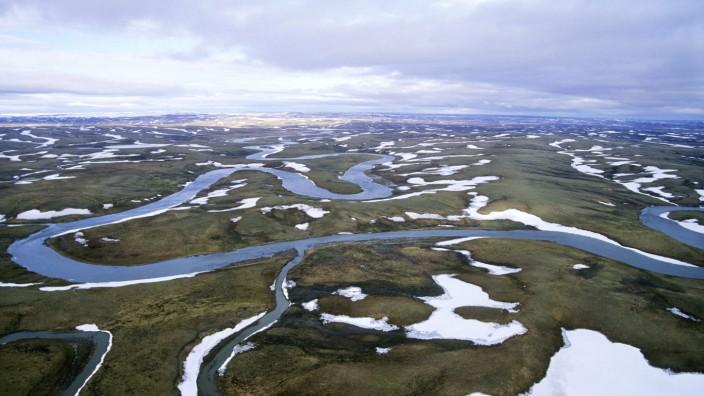 Arctic tundra in spring - an aerial view from a helicopter. landscape near Kara sea, Taimyr peninsula, North of Siberia,