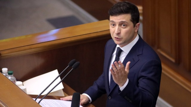 KYIV, UKRAINE - MARCH 04, 2020 - Persident of Ukraine Volodymyr Zelenskyy speaks from the rostrum during the sitting of