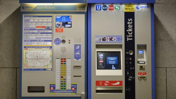 Ticketautomat MVV, Muenchen, Bayern, Deutschland *** Ticket machine MVV Muenchen Bavaria Germany