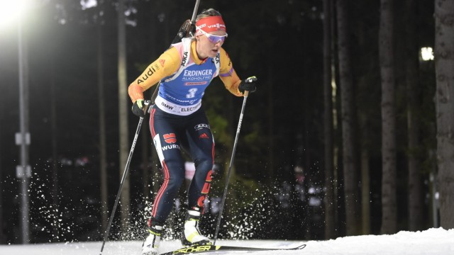 Denise Herrmann of Germany competes during the women s 7.5km sprint race at the World Biathlon Cup in Nove Mesto na Mor; Denise Herrmann Nove Mesto