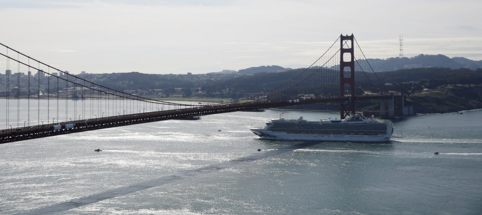 The cruise ship Grand Princess passes the Golden Gate bridge in San Francisco