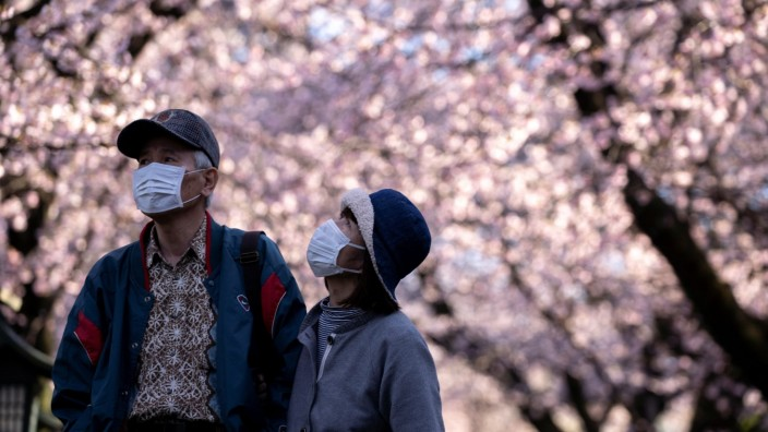 A couple wearing face masks, following an outbreak of coronavirus, enjoys watching cherry blossom in Saitama Prefecture