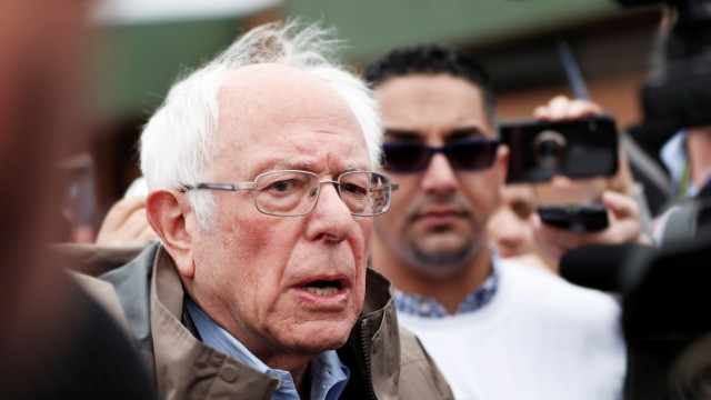 U.S. Democratic presidential candidate Bernie Sanders speaks to members of the media outside of a polling station in Dearborn Heights, Michigan