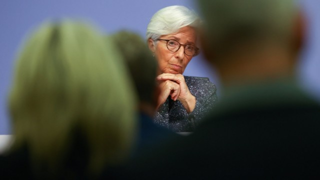 European Central Bank (ECB) President Christine Lagarde looks on during a news conference on the outcome of the meeting of the Governing Council, in Frankfurt