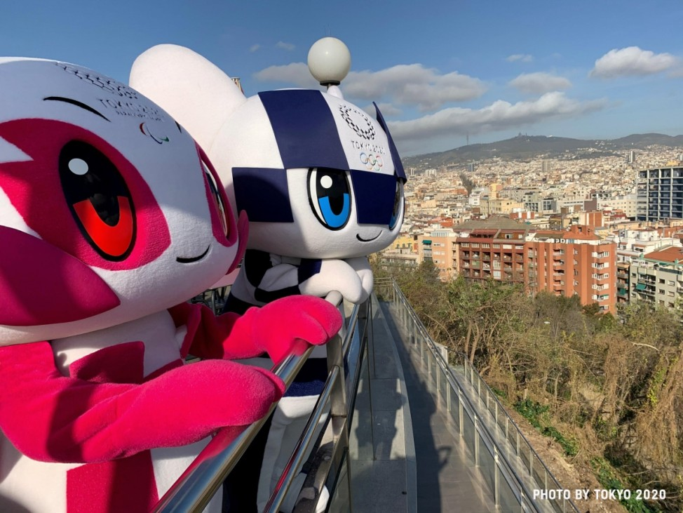 Tokyo 2020 Olympic Games mascot Miraitowa and Paralympic mascot Someity are pictured during their 'Make the Beat' tour in Barcelona