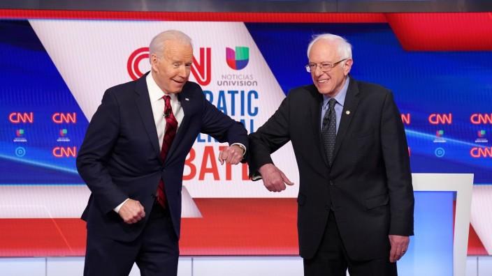 US-Demokraten: Bernie Sanders und Joe Biden bei einem TV-Duell in Washington
