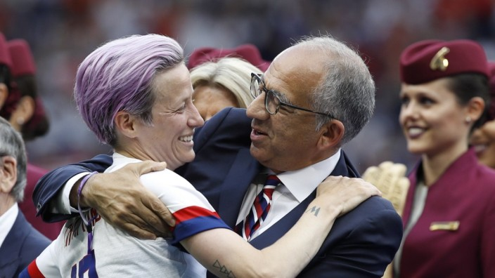 USA x Holland LYON, LY - 07.07.2019: USA X HOLLAND - Megan Rapinoe of the United States with president of the United St
