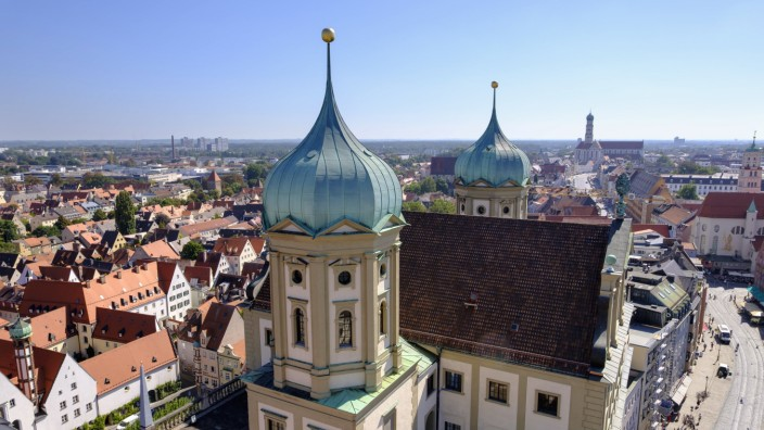 Germany Augsburg Townhall and Maximilian Street with St Ulrich and Afra Church PUBLICATIONxINxGER