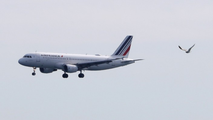 An Air France plane prepares to land at Nice International airport in Nice