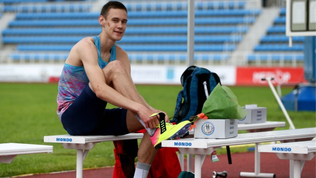 MOSCOW REGION RUSSIA - JULY 2 2017 Russia s Danil Lysenko competes in a men s high jump event at