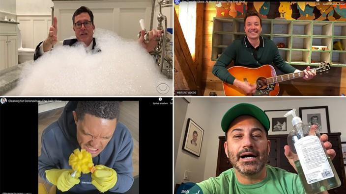 Fernsehen ohne Publikum: Gastgeber von US-Shows wie Stephen Colbert (von oben links im Uhrzeigersinn), Jimmy Fallon, Jimmy Kimmel und Trevor Noah senden jetzt von daheim - auch aus der Badewanne.