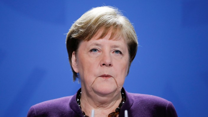 German Chancellor Angela Merkel holds a news conference about the coronavirus outbreak disease (COVID-19) in Berlin