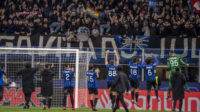 Supporters (Atalanta) during the Uefa Champions League Round of 16 match between Atalanta 4-1 Valencia CF at Giuseppe Me