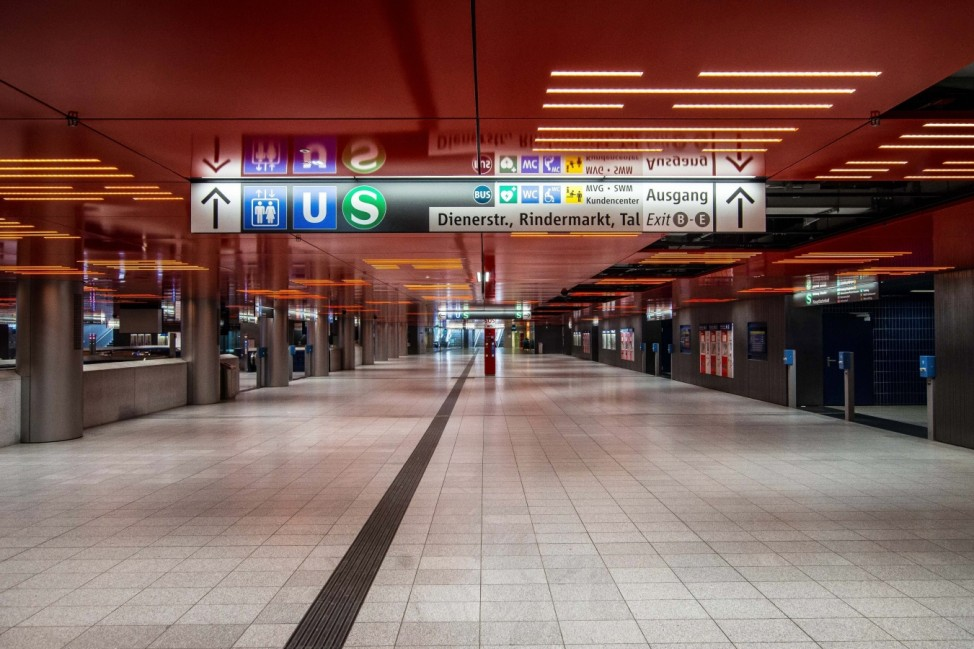 March 22, 2020, Munich, Bavaria, Germany: The empty Marienplatz train station in Munich, Germany. Even on Sundays, the