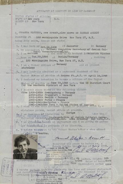 Affidavit von Hannah Arendt New York, 18. Januar 1949 © Washington D.C., The Library of Congress, The Hannah Arendt Papers