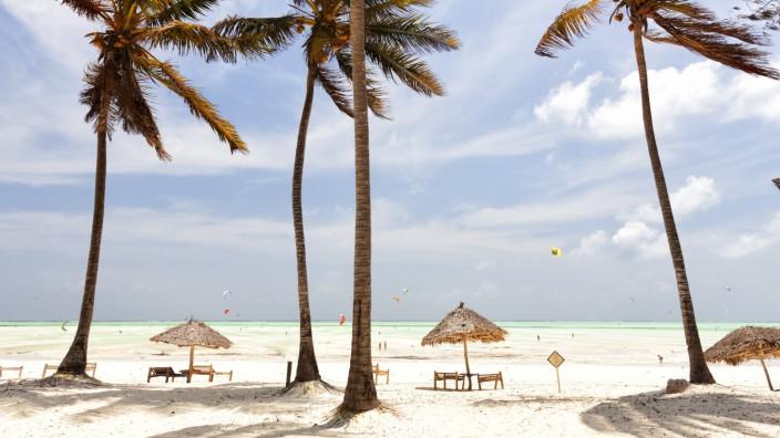 Tanzania Zanzibar Island Paje palm trees moved by the wind PUBLICATIONxINxGERxSUIxAUTxHUNxONLY DS