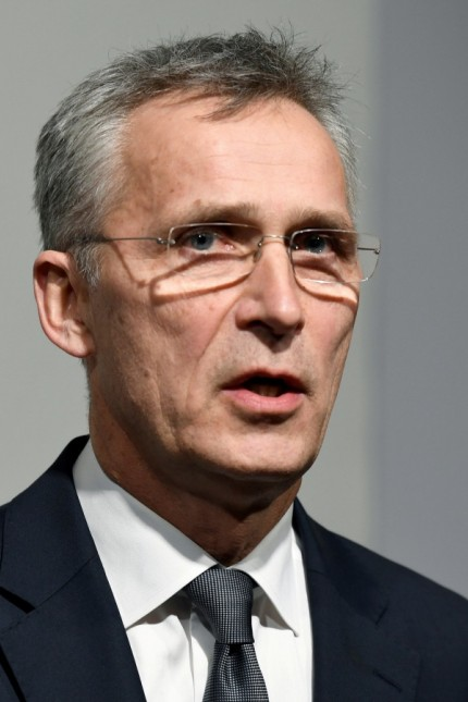 FILE PHOTO: NATO Secretary General Stoltenberg speaks to reporters in Hamburg
