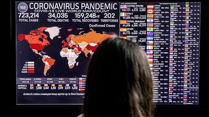 Coronavirus: Zahlen und Statistiken auf einem Bildschirm