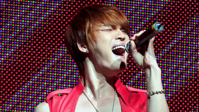 FILE PHOTO: Jaejoong of South Korean pop group JYJ performs during their concert in Lima