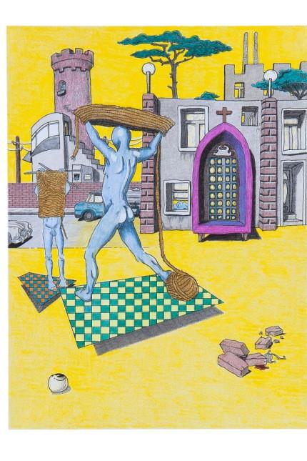 Gottfried Peer Ueberfeldt, O.T., Kolorierte Zeichnung, ca. 2000