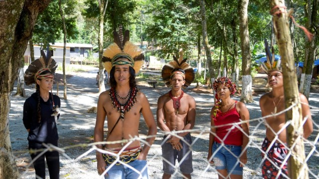 Indigenous people from Pataxo ethnic group are seen inside the village Nao Xoha, amid the coronavirus disease (COVID-19) outbreak, in Sao Joaquim de Bicas