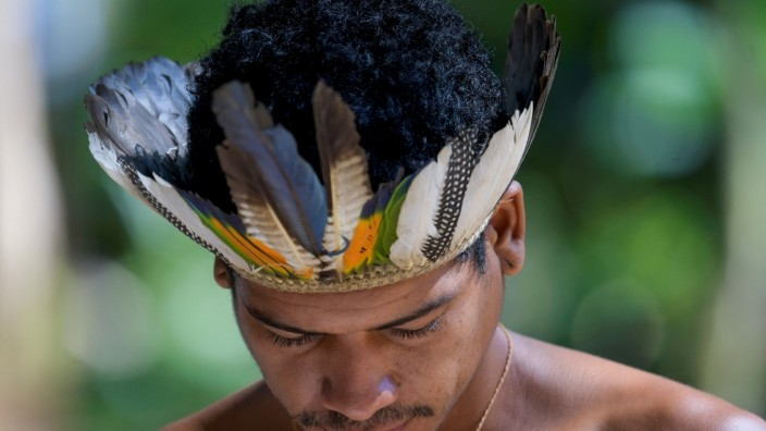 An indigenous person from ethnic Pataxo group is seen inside the village Nao Xoha, amid the coronavirus disease (COVID-19) outbreak, in Sao Joaquim de Bicas