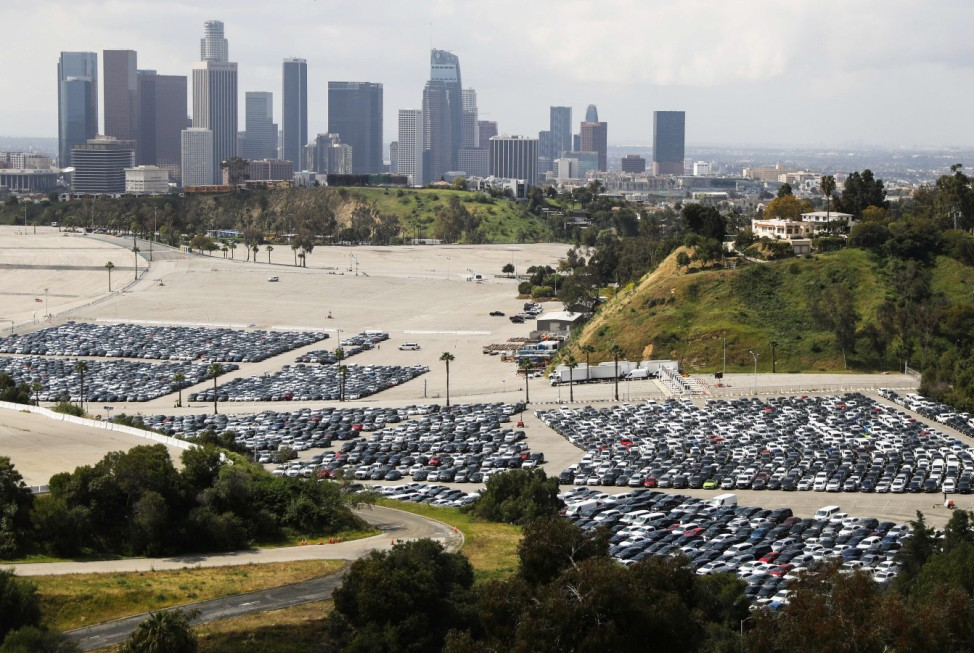 Unused Rental Cars Stored At Dodger Stadium Parking Lot During COVID-19 Outbreak