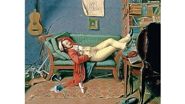 """Über Lebenskunst: Wo ließe sich der Müßiggang besser pflegen? """"Liegender Mann auf einem Diwan"""" von Theodor Franken (1811-1876)."""