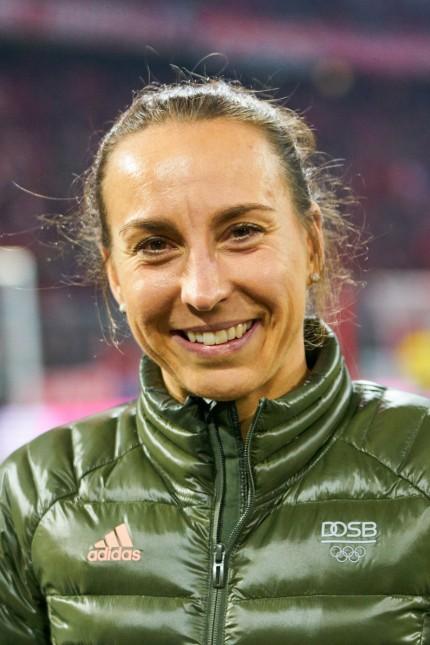Football FC Bayern Munich - Dortmund, Munich November 9, 2019. Anne HAUG, Triathlon athlete Germany , half-size, portrai