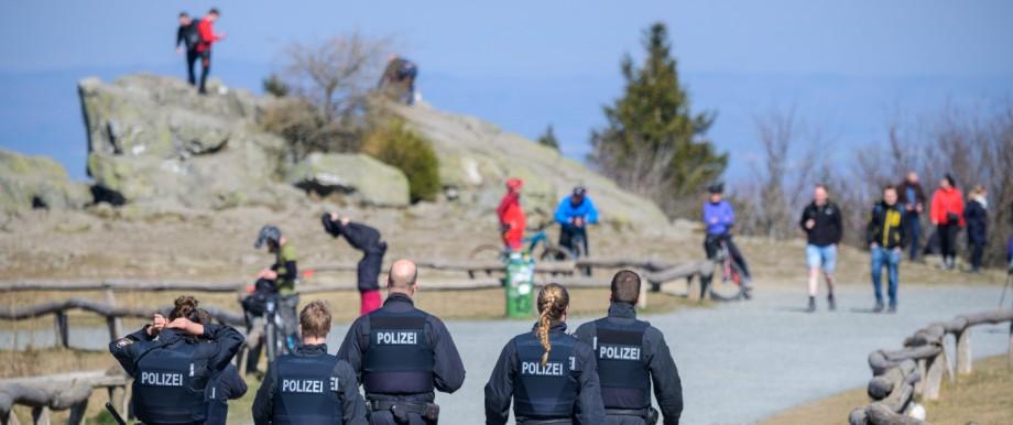 Police patrol the Great Feldberg in the Taunus.