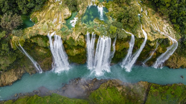Reisefotograf Michael Runkel: Luftblick auf die Tamul-Wasserfälle in Mexiko, Bundesstaat San Luis Potosí.