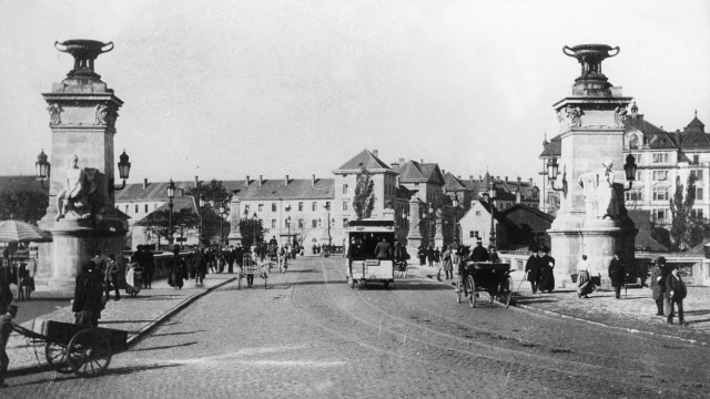 Ludwigsbrücke , München um 1898