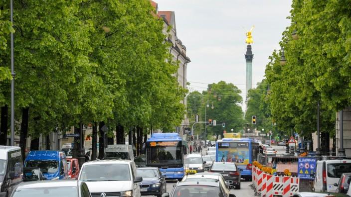 Verkehrsstau auf der Prinzregentenstraße in München, 2019