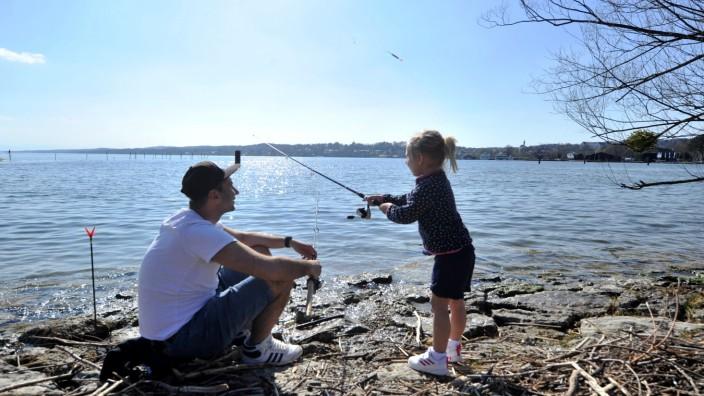 Percha: Angler Josip Sudac und Tochter Jana