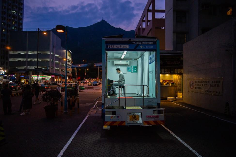 *** BESTPIX *** Hong Kong Piano School Goes Mobile Amid The Coronavirus Outbreak