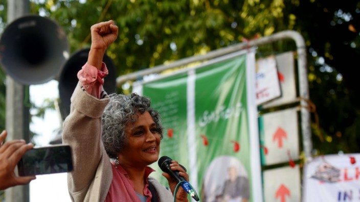 NEW DELHI, INDIA - JANUARY 11: Author Arundhati Roy at a protest outside Jamia Millia Islamia University against the Cit