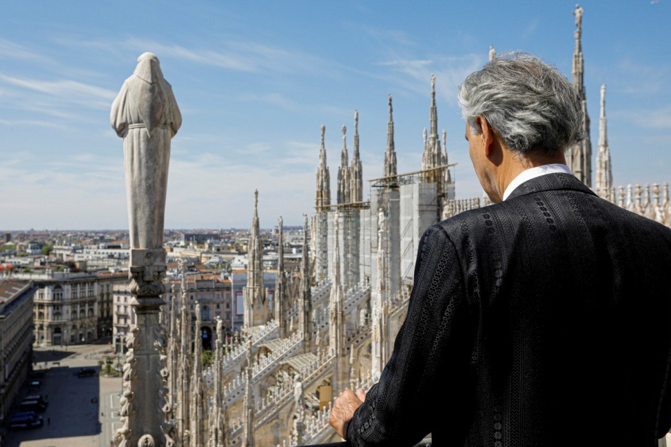 Italian opera singer Andrea Bocelli participates in ''Music for hope'' event at an empty Duomo Cathedral in Milan