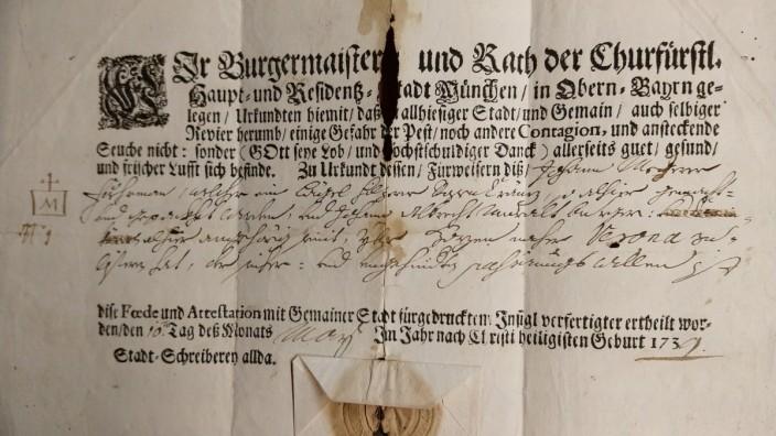 Münchner Seuchenpass von 1739, ein Passierschein der Stadtschreiberei für eine Reise nach Verona