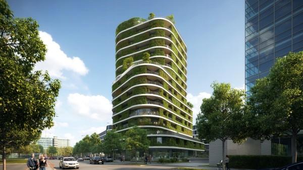 In Bogenhausen soll ein 52 Meter hohes Gebäude mit grüner Fassade entstehen.