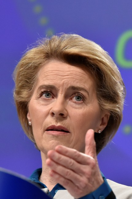 The President of European Commission Ursula von der Leyen holds a news conference on the European Union response to the coronavirus disease (COVID-19) crisis at the EU headquarters in Brussels