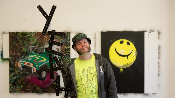 Künstler Markus Henning in seinem Atelier in der Fraunbergstraße 4. Street-Art-Kunst